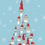 Santa faces in fir shape — Stock Photo #58485421