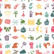 Christmas, New Year icons silhouette seamless pattern — Stock Photo #58485499