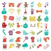 Christmas, New Year colored icons silhouette set — Stock Photo