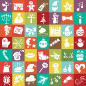 Christmas, New year silhouette icons button set — Stock Photo
