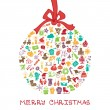 Christmas, new year icons in ball round shape — Stock Photo #58930277