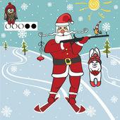 Santa biathlete shoots — Stockfoto
