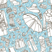 Females outerwear, accessories, rain seamless pattern — Stock Photo