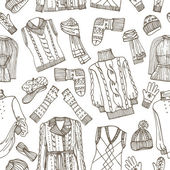 Sketchy Females knitted clothing seamless pattern — Stock Photo