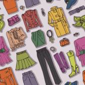 Females clothing, accessories seamless pattern — Stock Photo