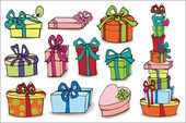 Красочные подарочные коробки с тенью — Стоковое фото