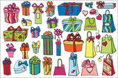 Colored gift boxes, bags set — Stock Photo