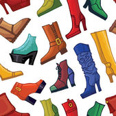 Colored women's boots and shoes seamless pattern — Stock Photo