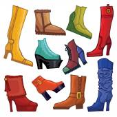Fashionable colored women's boots and shoes — Stock Photo