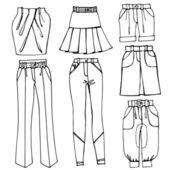 Females skirts, trousers set — Stock Photo