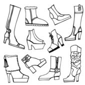 Females shoes, boots set — Stock Photo