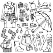 Females outerwear, accessories set — Stock Photo