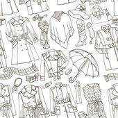 Females outerwear, accessories seamless pattern — Stock Photo