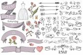 Doodle bridal shower  ribbons — Stock Photo