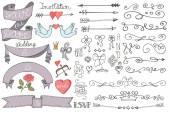 Doodle Wedding ribbons — Stock Photo