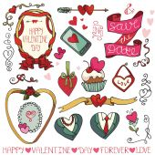 Valentine day elements collection — Stockfoto