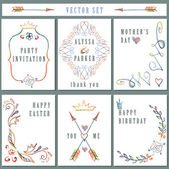 Vintage card set with floral elements. — Stock Photo