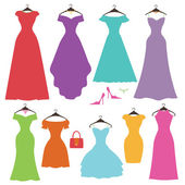 Colorful women's dresses — Stock Photo