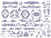 Doodles love decor  set — Stock Photo