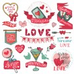 Постер, плакат: Valentines day set