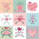 Valentines day calligraphy set. — Stock Photo #64368963