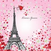 Hearts and Eiffel tower — Stock Photo