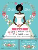 Mulatto bride invitation set. — Stockfoto