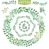 Watercolor wreaths set — Stockfoto