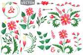 Watercolor red flowers — Stock Photo