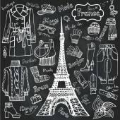 Paris styl moda odzież zestaw. — Zdjęcie stockowe