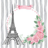Paris  card with Eiffel tower — Stock Photo