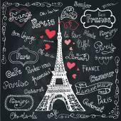 Set of Paris symbols — Stock Photo