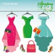 Three spring  dresses on a hangers. — Stock Photo #70055555