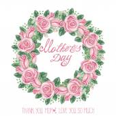 Mothers day card with pink roses — Stock Photo