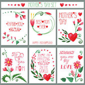 Watercolor  flowers cards set. — Stock Photo