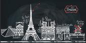 Set of Paris landmark panorama. — Stockfoto