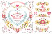Cute wedding template set. — Stock Photo