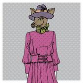 Hand drawn deer hipster girl — Fotografia Stock