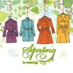 Spring  Fashion female coats set. — Stock Photo #72750095