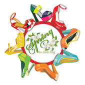 Multicoloured fashion womens shoes. — Zdjęcie stockowe