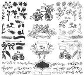 Gekritzel floral Gruppenelemente — Stockfoto