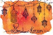 Lantern garland of Ramadan Kareem. — Foto de Stock