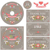 Wedding template set with floral wreath — Stock Photo