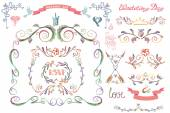 Cute wedding template set. — Stock Photo