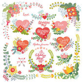 Cute vintage  floral set with hearts. — Stock Photo