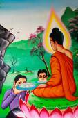 PHUKET ,THAILAND - JUNE 23 : Traditional Thai mural painting of  — 图库照片