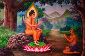 PHUKET ,THAILAND - JUNE 23 : Traditional Thai mural painting of  — Stock Photo