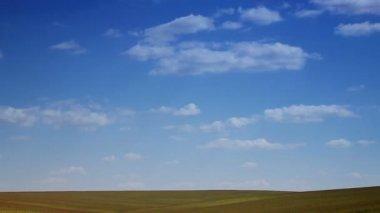 Krajina modrou oblohu s mraky běží nad polem. horizont pole, střílel z dálky. zrychlené video, které je zataženo den. přírodní krajiny. mraky rychle přejet stepní. — Stock video