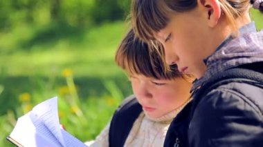 Two village boys reading a book on nature. Children read the book together. Elder brother teaches young to read. — ストックビデオ