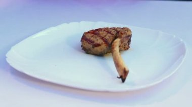 Meat cooked on fire grill.Shish kebab and lamb ribs server before serving.Fresh dish of meat. — Stock Video
